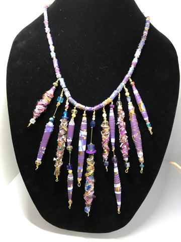 A Simply Stunning Purple and Gold Hand Rolled Beaded Statement Necklace High Fashion Luxury
