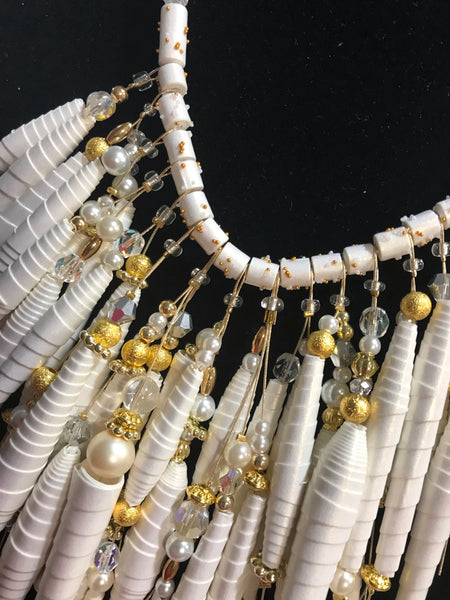 Artisan Stunning White Statement Hand Beaded Necklace OOAK
