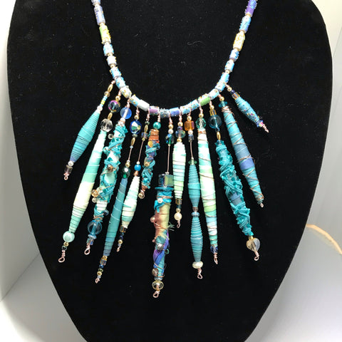 A Simply Stunning Turquoise Hand Rolled Beaded Statement Necklace High Fashion Luxury