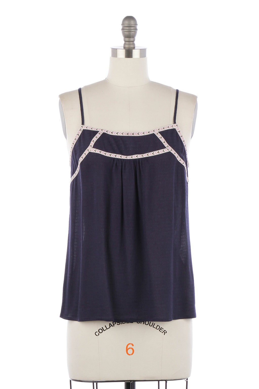 Embroidery tape trim cami