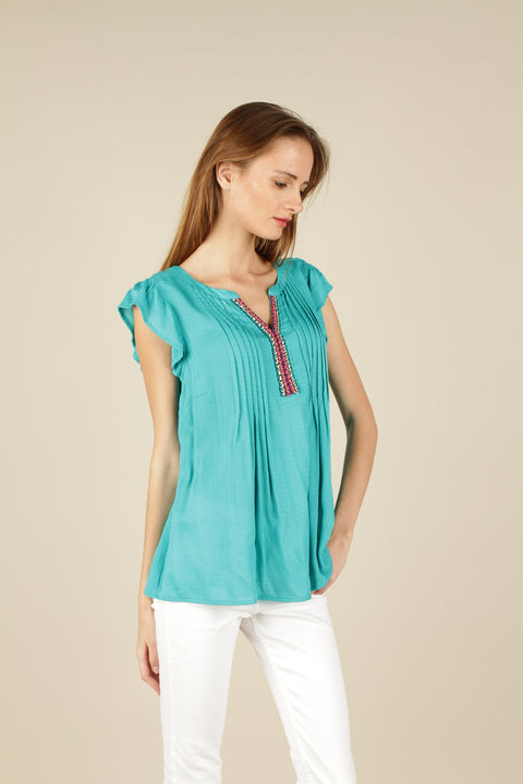 Front pin tuck blouse
