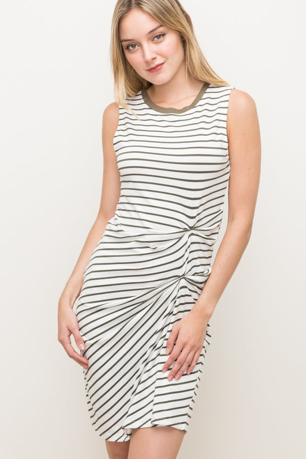 Side tuck Stipe tank dress