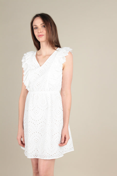 Sleeveless eyelet dress with ruffles