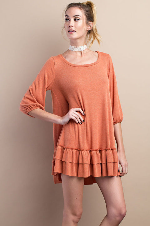 3/4 Sleeve Double ruffled 2tone rib knit dress