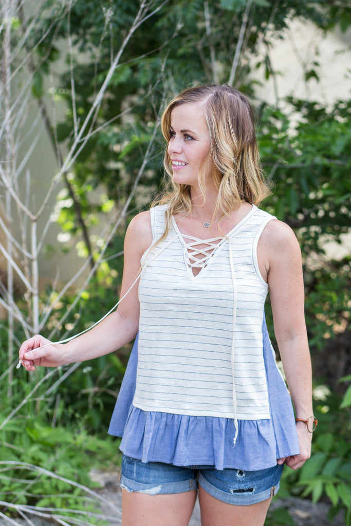 Lace Up Stripe Two-Fer Top