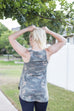 Sleeveless Military Print Jerssey top