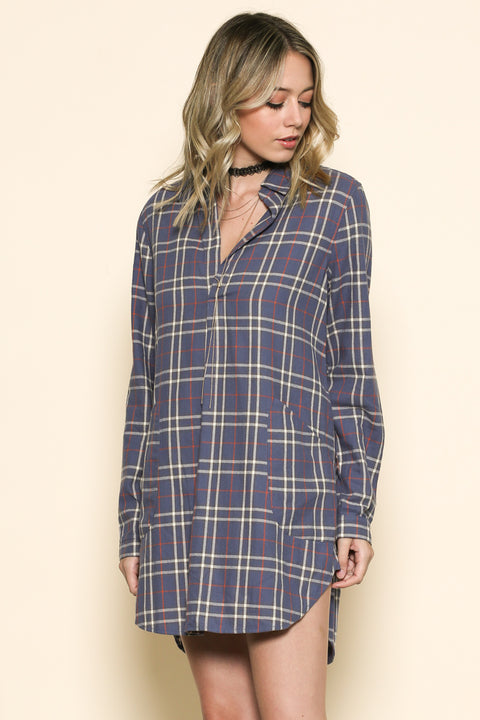 Plaid pocket tunic top or mini dress with pockets