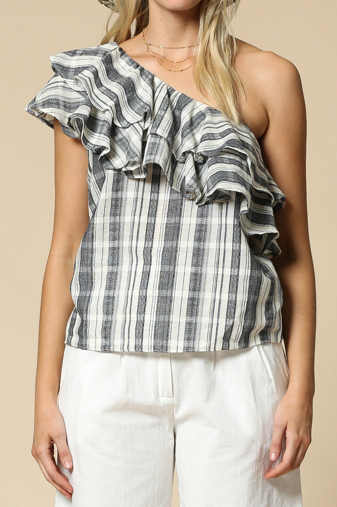 Checkered ruffle one shoulder sleeveless top