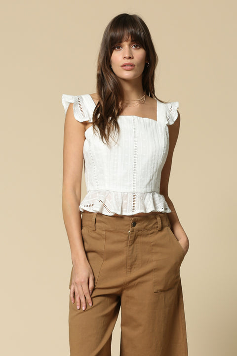Cropped Peplum ruffled corset top