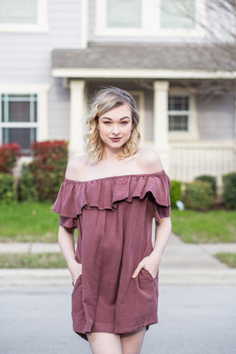 Tencel Off shoulder pocket dress