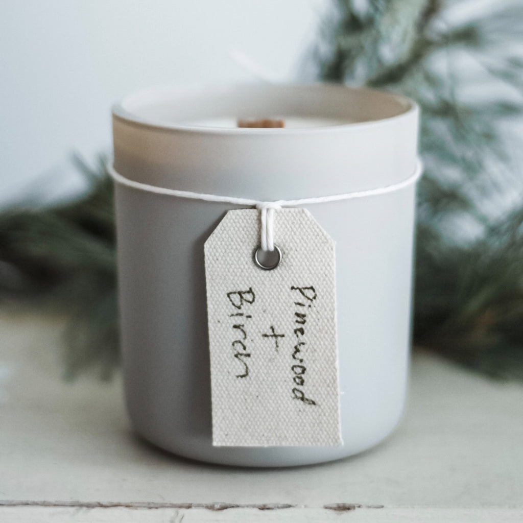Pinewood + Birch Stonewashed Woodwick Candle - Howard Soap Co. - Minnesota Made Herbal Skin Care + Candles