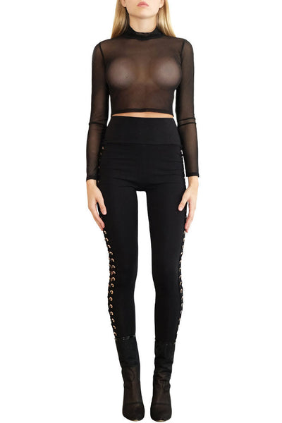 Kendall Black Mesh Top