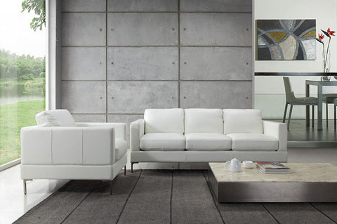 White Leather Sofa at Trade Source Furniture