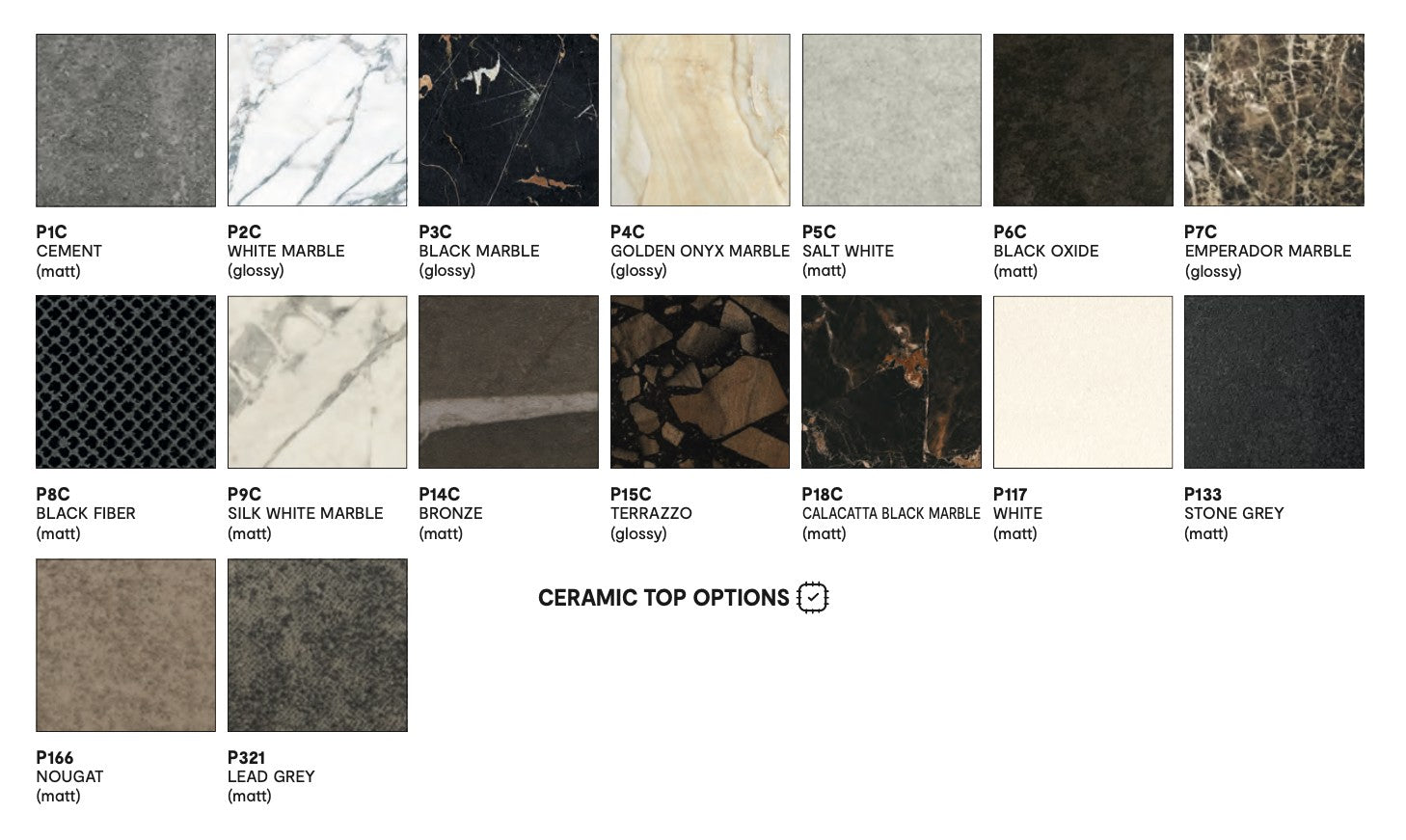 Calligaris ceramic and marble tabletops