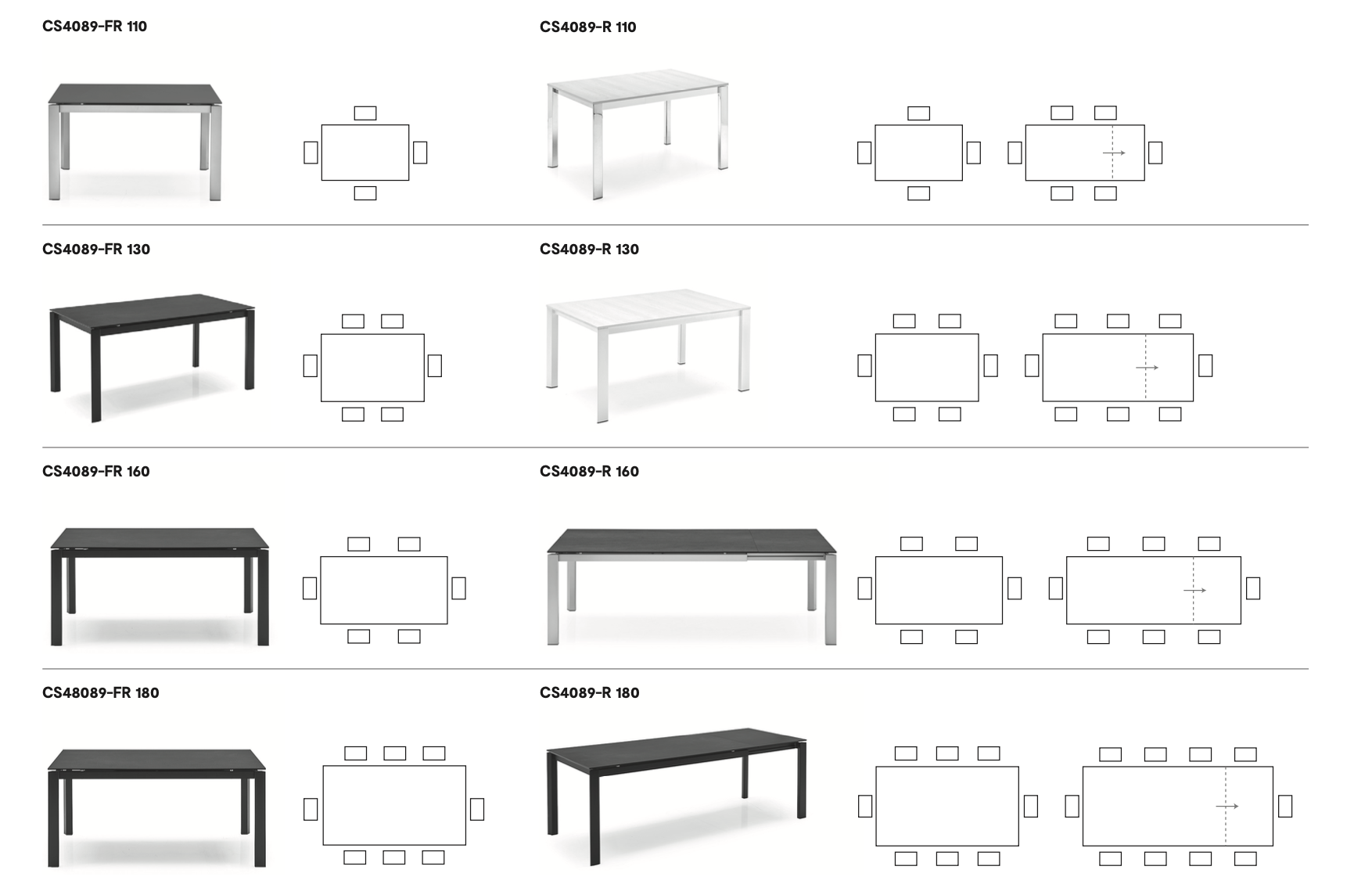 Calligaris Duca Sizes