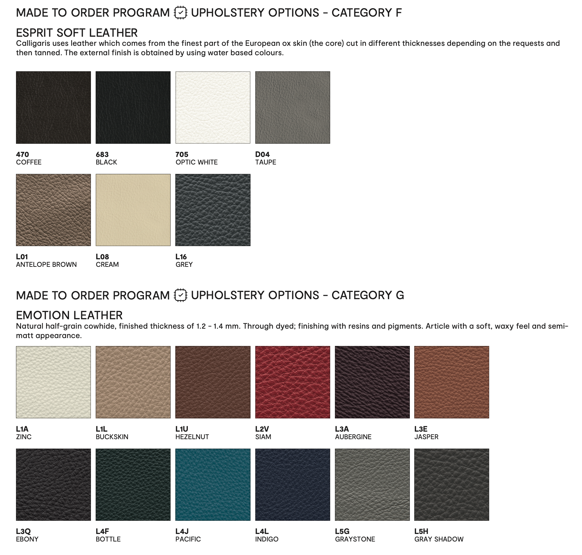 Calligaris Leather Dining Chair Colors