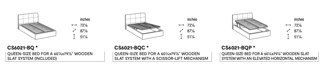 Calligaris Swami Queen Bed Dimensions