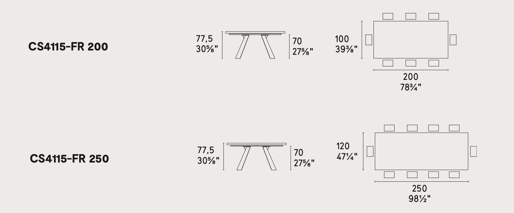 Icaro Table Dimensions