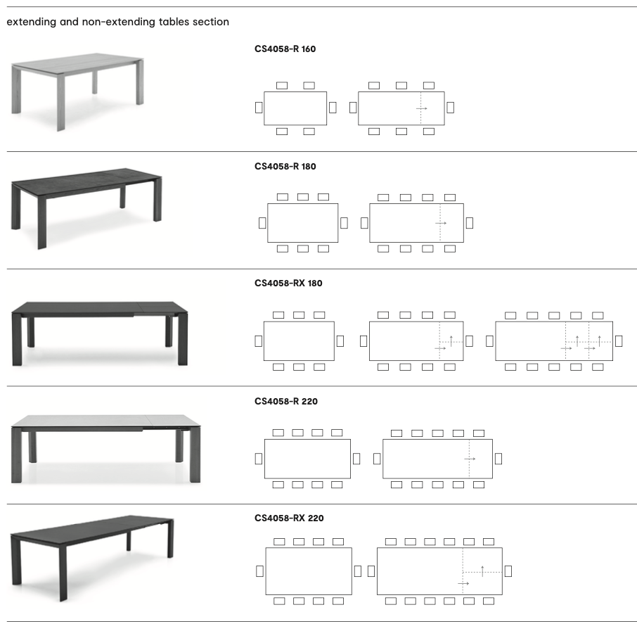 Calligaris Omnia Table Dimensions