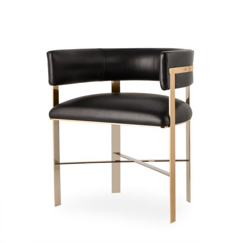 Resource Decor Art Chair Brass Black Leather