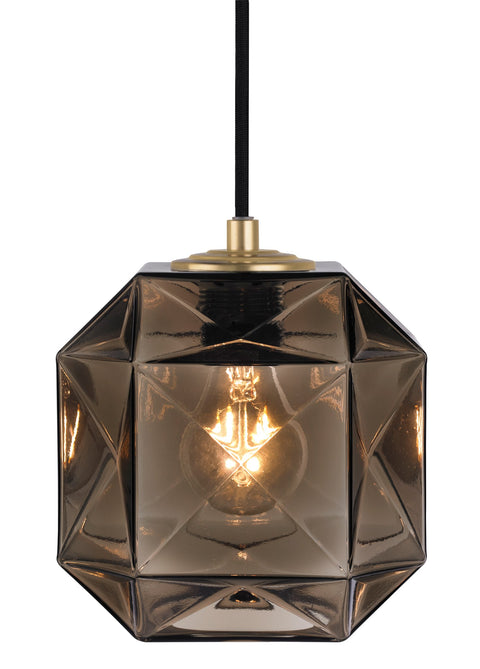 Mimo Cube Bronze with Brass Pendant Light