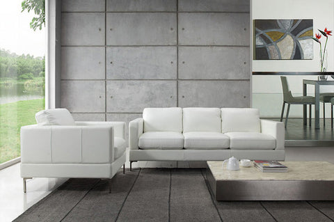 Moroni Tobia White Leather Sofa