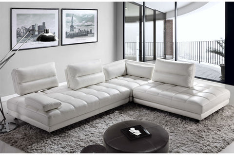 Moroni Teva White Leather Sectional Sofa