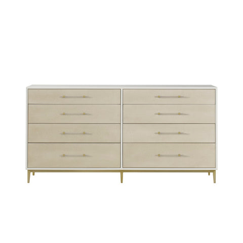 Alice Chest 8 Drawer / Emboss Faux Shagreen / Ivory