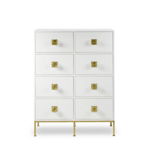 Formal 8 Drawer Dresser White Lacquer