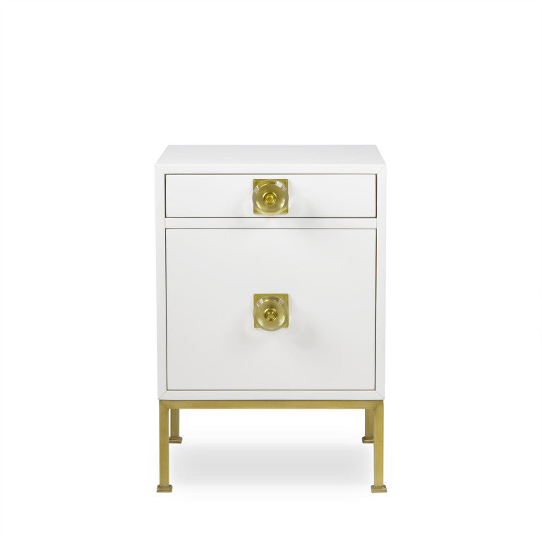 Formal Nightstand White Lacquer