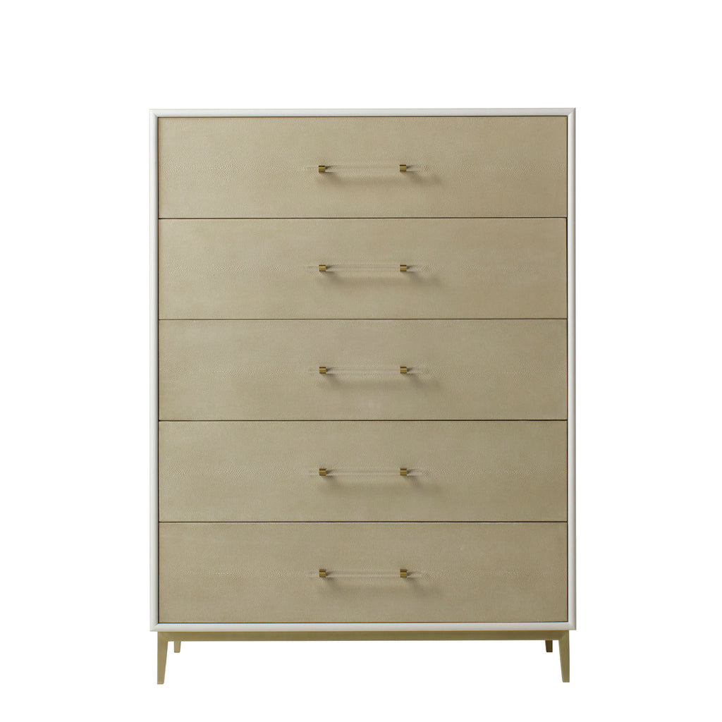 Alice Chest 5 Drawer / Emboss Faux Shagreen / Ivory
