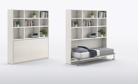 Horizontal Twin Wall Bed with Storage