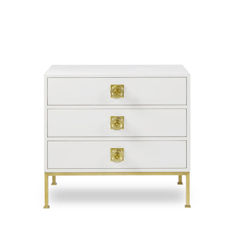 Formal 3 Drawer Chest White Lacquer