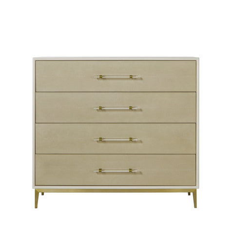Alice Chest 4 Drawer / Emboss Faux Shagreen / Ivory