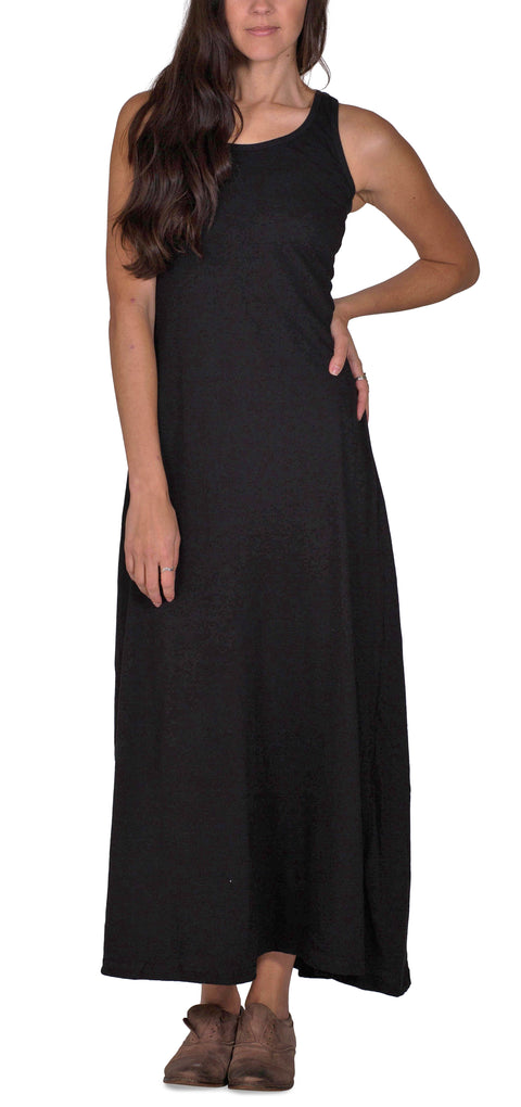 Organic Cotton Racerback Maxi Tank Dress | Black | USA Made - Asheville Apparel