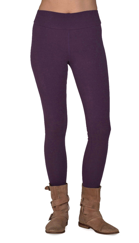 Women's Organic Cotton/Lycra Leggings - Plum - USA Made