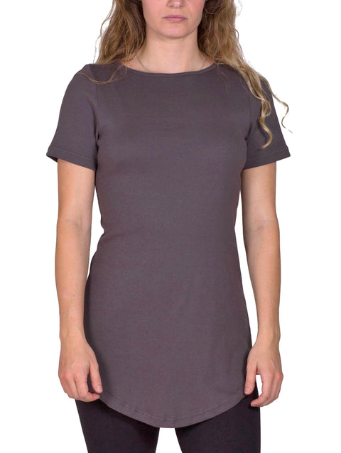 Women's Organic Cotton Short Sleeve Maddi Tee - Graphite - USA Made