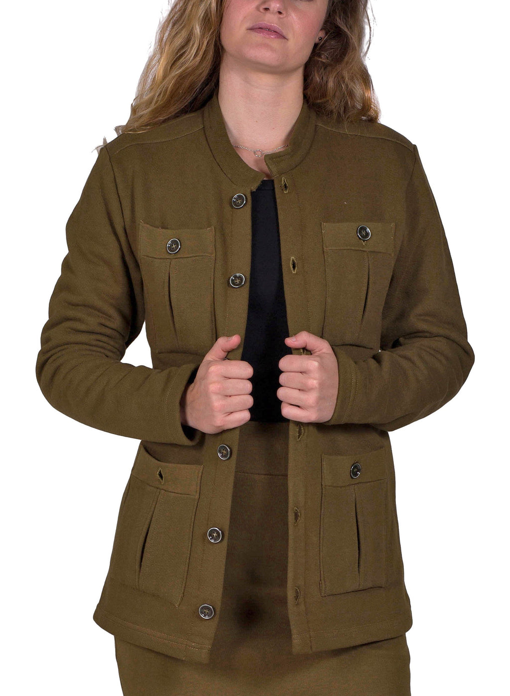 Women's Organic Cotton Field Jacket - Dark Olive - USA Made - Asheville Apparel
