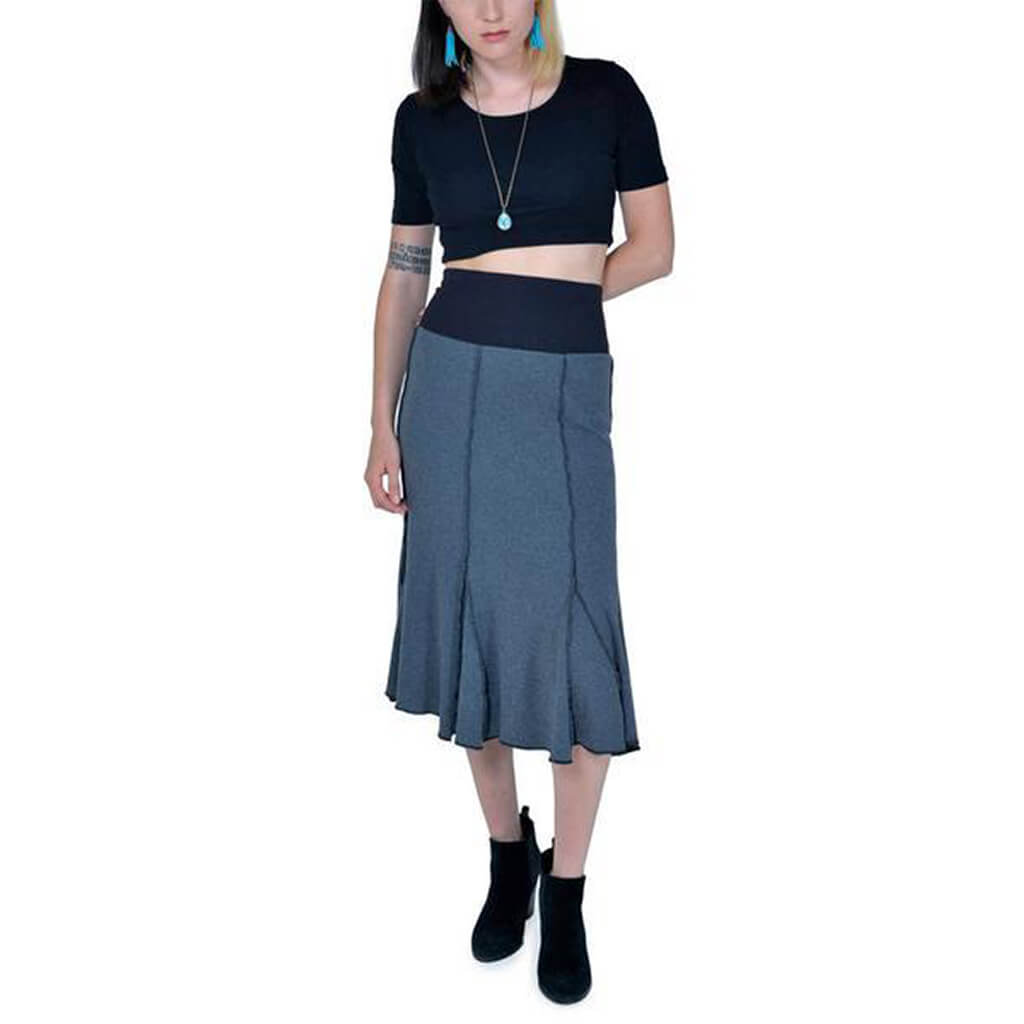 Women's 50/50 Long Seamed Flare Skirt - Anthracite - USA Made