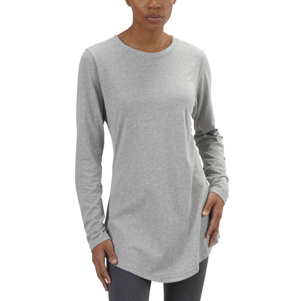 Women's 50/50 Long Sleeve Tunic Tee - Heather Grey - USA Made