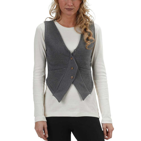Women's 50/50 College Street Vest - Anthracite - USA Made - Asheville Apparel