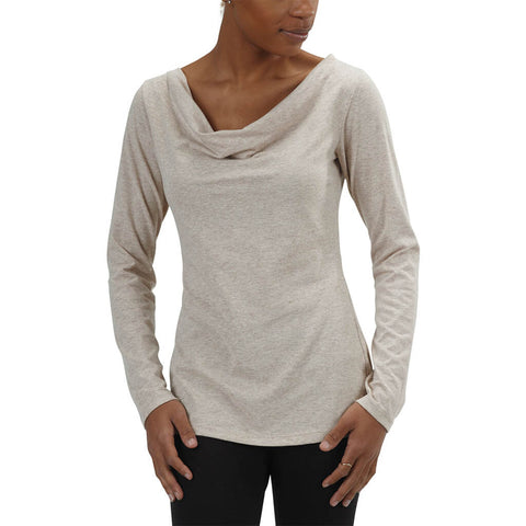 Women's 50/50 Long Sleeve Cowl Neck Tee - Linen - USA Made