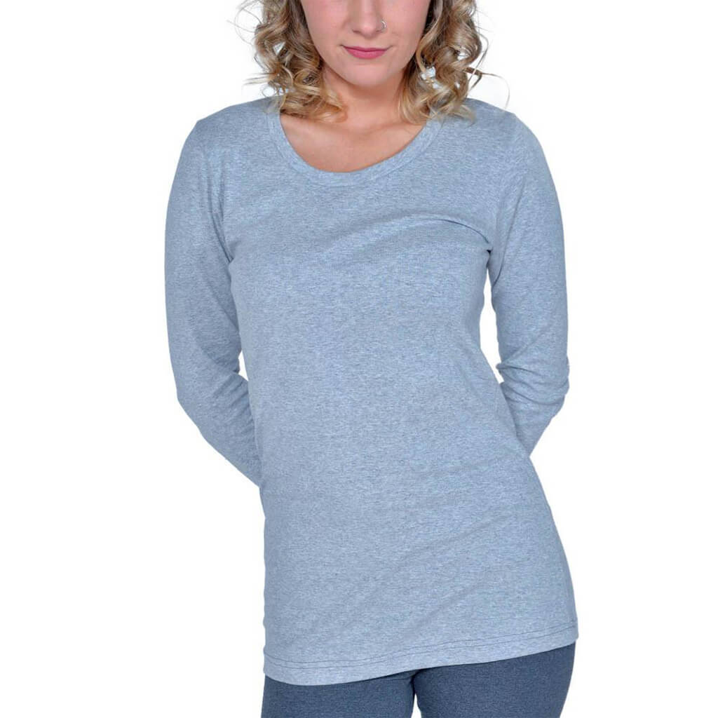 Women's 50/50 Long Sleeve Perfect Crew Neck Tee - Heather Grey - USA Made