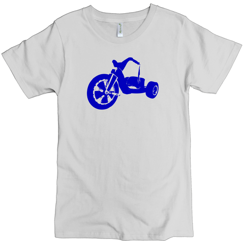 Men's Organic Cotton Classic Crewneck Tee - Blue Big Wheel Graphic - USA Made - Asheville Apparel