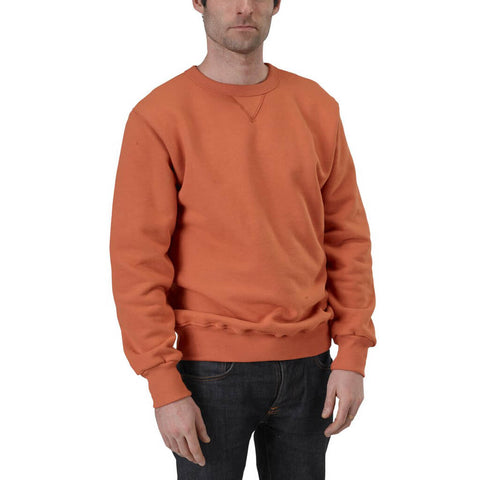 Men's Organic Cotton V-Inset Crewneck Sweatshirt - Hot Sauce - USA Made - Asheville Apparel