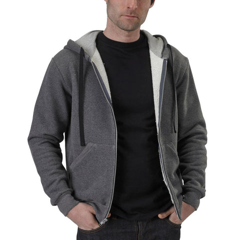 Men's 50/50 Zip Hoodie - Charcoal Grey - USA Made - Asheville Apparel
