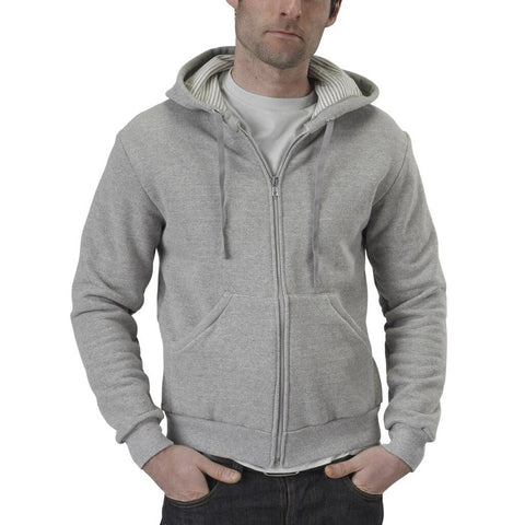 Men's 50/50 Zip Hoodie - Heather Grey - USA Made - Asheville Apparel