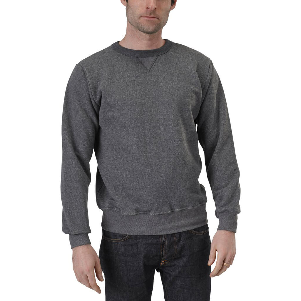 50/50 V-Inset Crewneck Sweatshirt | Charcoal Grey | USA Made - Asheville Apparel