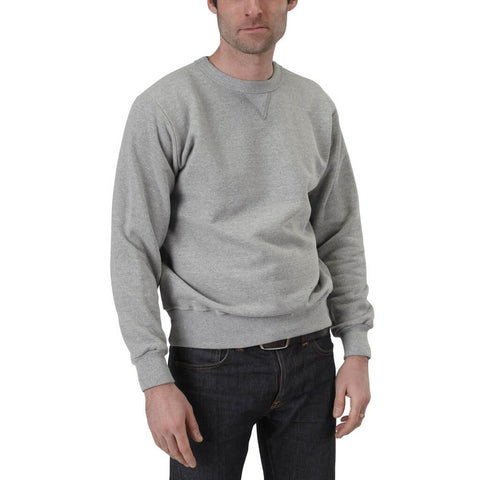 Men's 50/50 V-Inset Crewneck Sweatshirt - Heather Grey - USA Made - Asheville Apparel