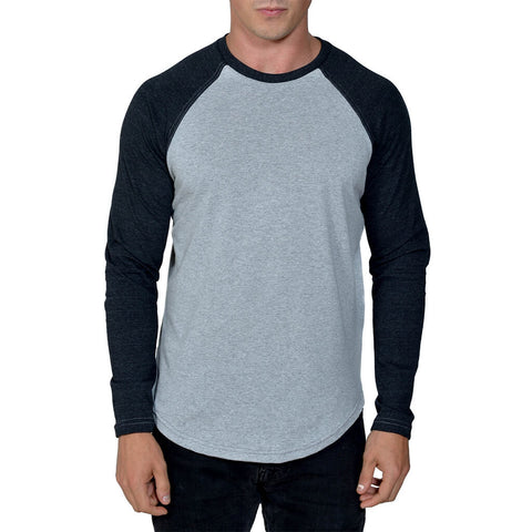 Men's 50/50 Long Sleeve Baseball Raglan Tee - Heather Grey/Charcoal - USA Made - Asheville Apparel